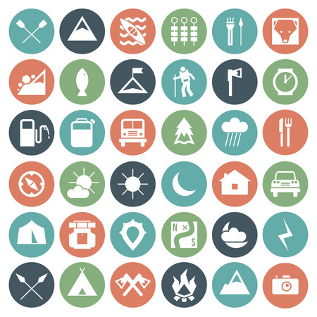 hatchet: Camping and hiking icons set in flat style. White icons on a color plate Illustration