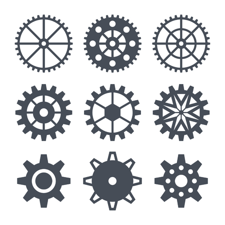 contact details: Icons set cogwheel. Dark silhouette on a white background