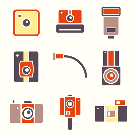 obscura: Icons set of retro photo camera in flat style