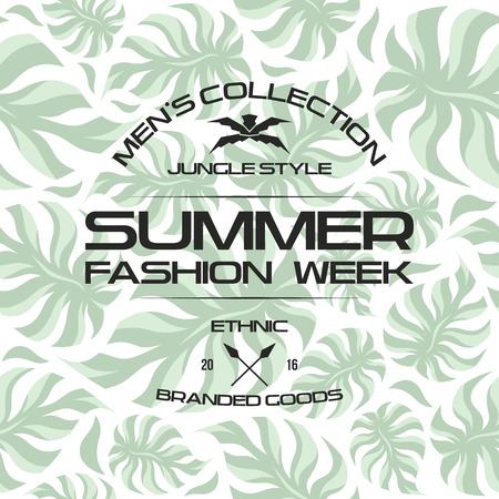 macho: Summer fashion week flyer and seamless pattern. Light colors