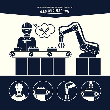 Linia produkcyjna. Człowiek i maszyna. Ilustracja monochromatyczny.