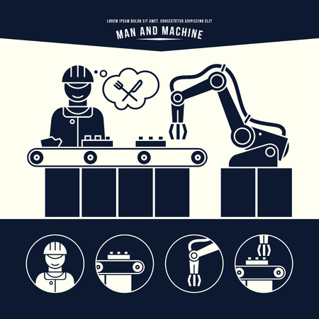 Línea de producción. El hombre y la máquina. Ilustración blanco y negro.