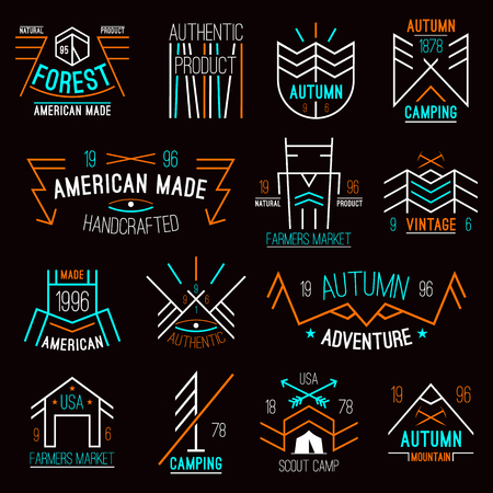 wigwam: Set of retro vintage badges graphics design for t-shirt in thin line style. Bright colors on a dark background