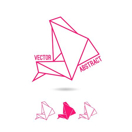 Abstract structure of triangles. Pink print on a white background