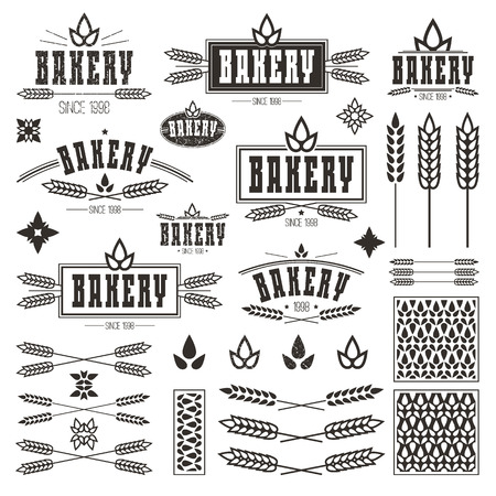 signboard form: Design elements for bakery. Dark print on a white background Illustration