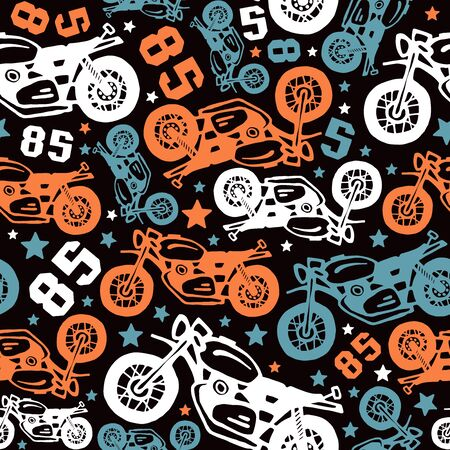 Seamless pattern with motorcycles drawings. Design for your textiles, backgrounds, wrapping paper. Color print on a black background Illustration