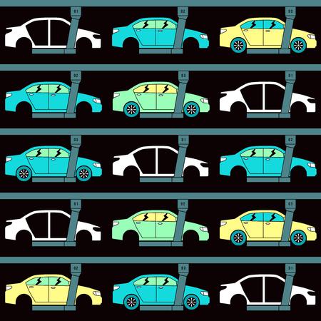 bodywork: Production line of cars. Seamless pattern. Color print on black background Illustration