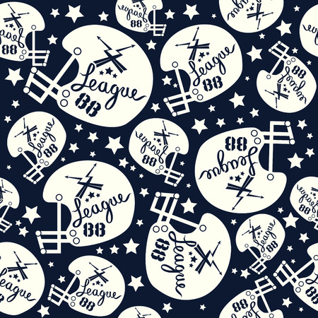 rebellious: Seamless pattern rugby helmet in comic style. White pattern on a dark blue background