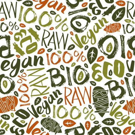 vegan: Raw vegan seamless pattern with hand-drawn lettering. Color print on white background Illustration