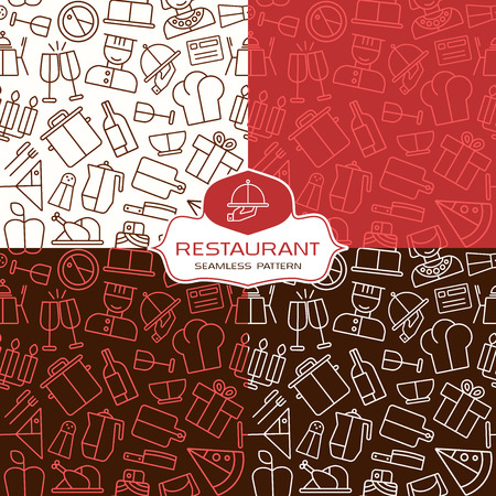 combinations: Restaurant seamless patterns in thin line style. Variants color combinations