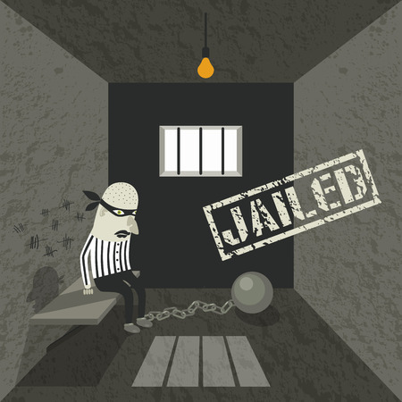 scoundrel: Gangster behind bars. Illustration