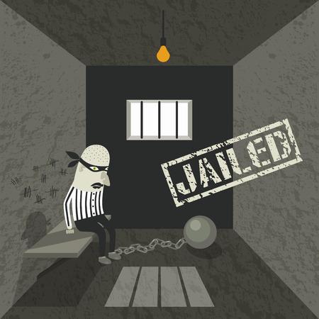 behind bars: Gangster behind bars. Illustration