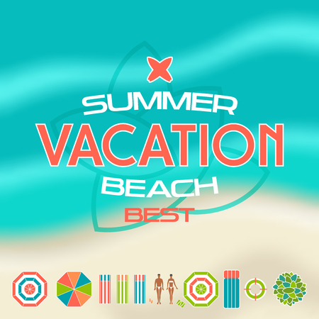 Vector illustration of summer beach icons, emblem and blurred background