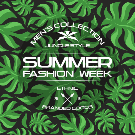 Summer fashion week flyer and seamless pattern. Dark colors Illustration