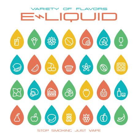アーク ショップ e-液体の滴の形でアイコンを味します。白地にカラー印刷  イラスト・ベクター素材