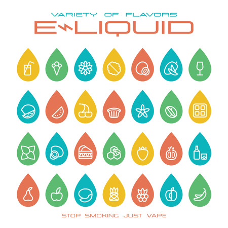 eliquid: Vape shop e-liquid flavors icons in the form of drops. Color print on white background