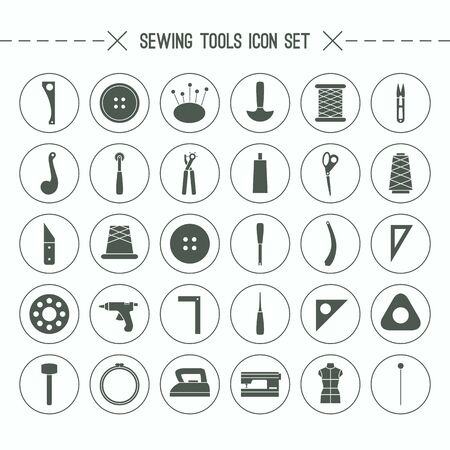 Sewing and hobby tools icons set. Black icons in a flat style on a white background Illustration