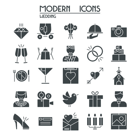brougham: Wedding icons set. Isolated silhouette on white background