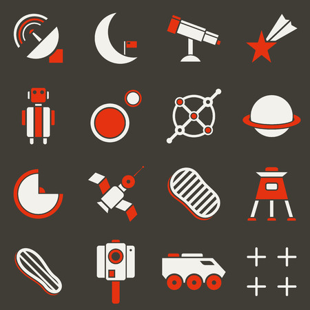 airwaves: Set of flat icons space. White and red Illustration