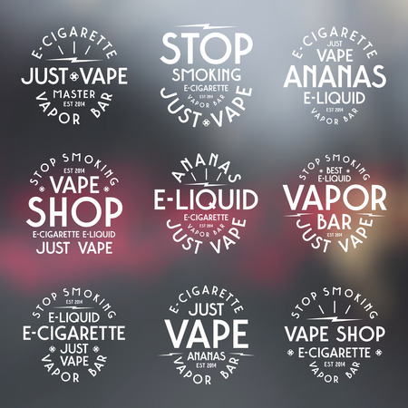 vapor: Vapor bar and vape shop typographic labels. White print on blurred background
