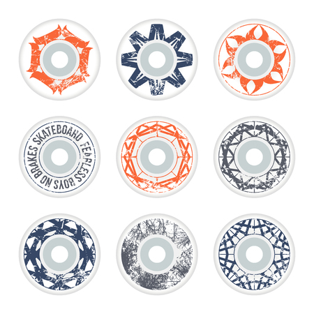 Skateboard wheels design. Geometric ornament with shabby texture