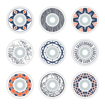 Skateboard wheels design with geometric ornament, texture wood