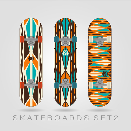 bolts and nuts: Set of drawings on a skateboard