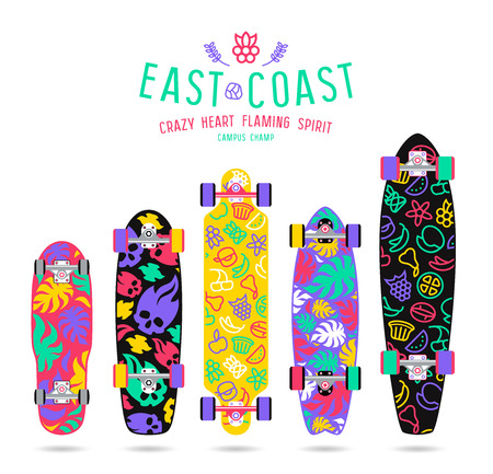 Fruit  prints in flat style for various forms of longboard and skateboard