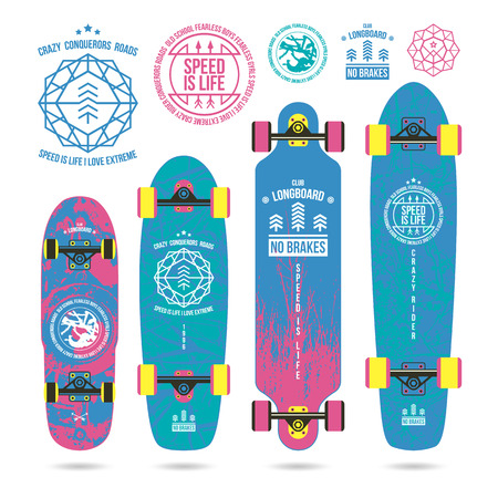 graphically: Set of outline emblems and nature textures on longboard. Graphically print, variety form and bright colors
