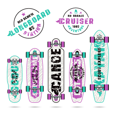 graphically: Set of prints on longboard in camping style. Graphically print, variety form boards and bright colors