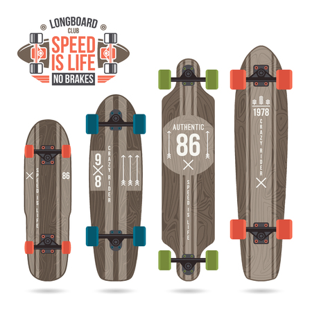 variety: Set of prints on longboard in retro style. Geometric print, variety form