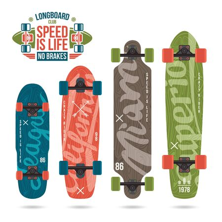 variety: Set of prints on longboard in retro style. Lettering print, variety form