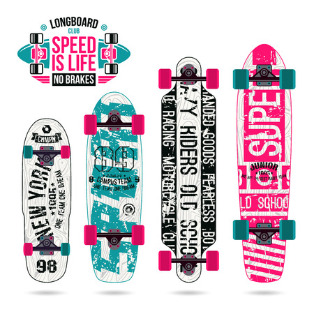 graphically: Set of prints on longboard in retro college style. Graphically print, variety form and bright colors