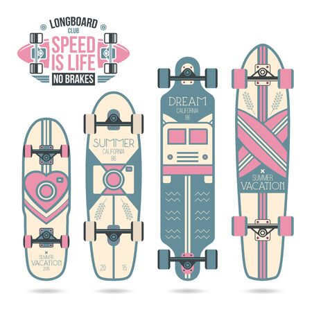 soft colors: Trendy print on a longboard and skateboard. Soft colors
