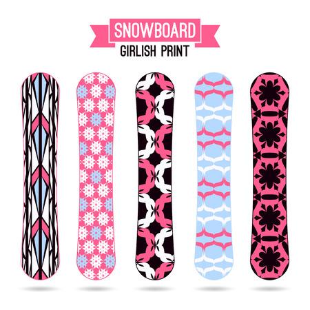 girlish: Girlish prints for snowboards. Ornamental decor, bright colors Illustration