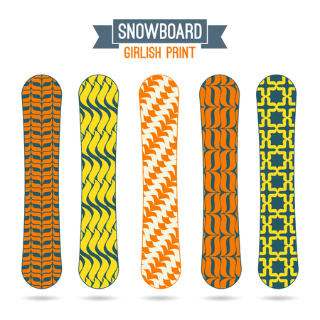 girlish: Girlish prints for snowboards. Ornamental decor, retro colors Illustration