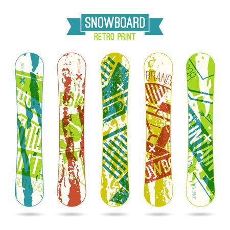 snowboard: Print for snowboard in retro style