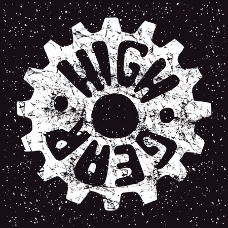 High gear emblem drawn by hand. Graphic design for t-shirt. White print on black background