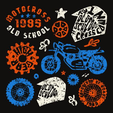 motorcycling: Motorcycling elements in hand-drawn style. Graphic design for t-shirt. Color print on black background