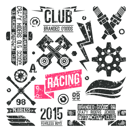 Car Racing Badges In Retro Style Graphic Design For T Shirt