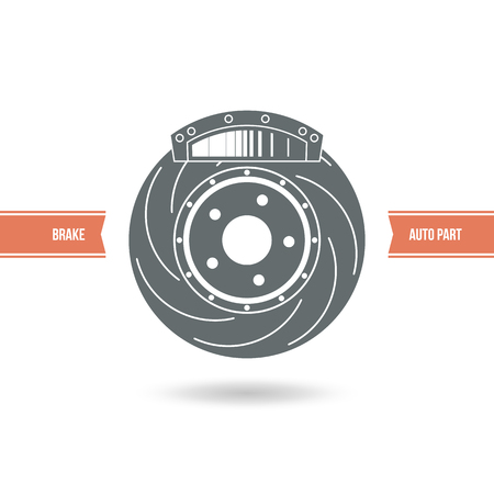 brake pad: Car brake pads and discs icon. Color print on a white background