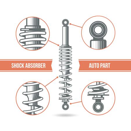 shock absorber: Car shock absorber icon. Color print on a white background Illustration