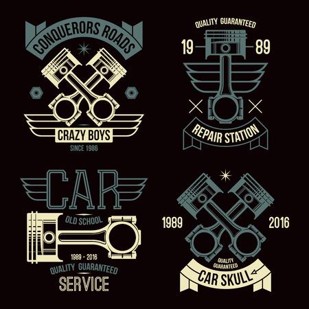 ignition: Car engine piston emblems. Color print on a black background