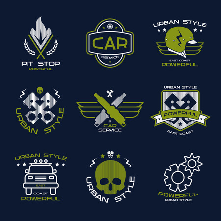 urban style: Car service badges in urban style. Graphic design for t-shirt. Color print on dark background
