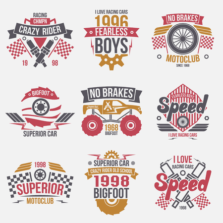 restrained: Emblems retro vintage race and super cars. Graphic design for t-shirt. Color print on white background