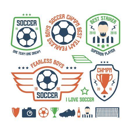 striker: Set of soccer emblems and icons. Color print on a white background Illustration