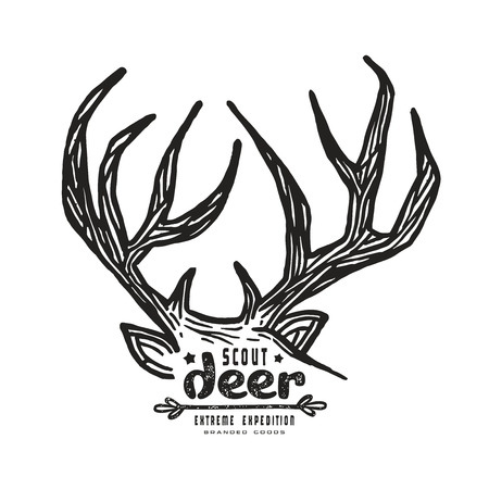 linocut: Graphic design for t-shirt with a image of deer horns. Black print on white background