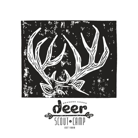 linocut: Stock vector linocut with a image of deer horns. Graphic design for t-shirt. Black print on white background