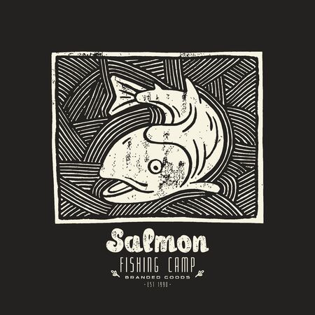 white salmon river: Stock vector linocut with a picture of salmon. White print on black background