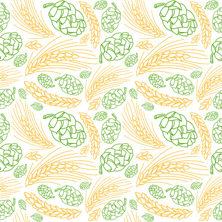 malt: Malt and cone hop seamless pattern. Ingredients for brewing beer. Color print on white background